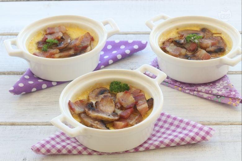 Crema salata con funghi e pancetta