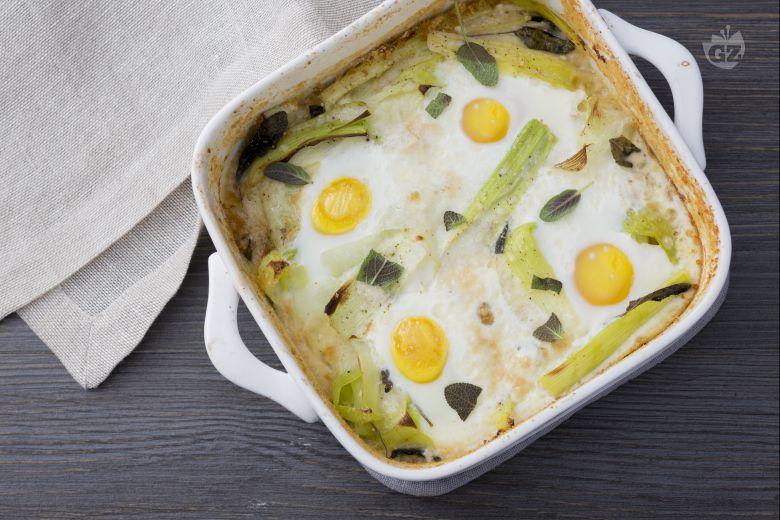 Porri e uova al forno