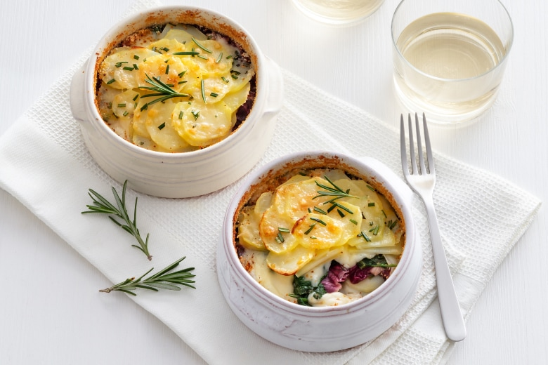 Tortini di patate spinaci e radicchio