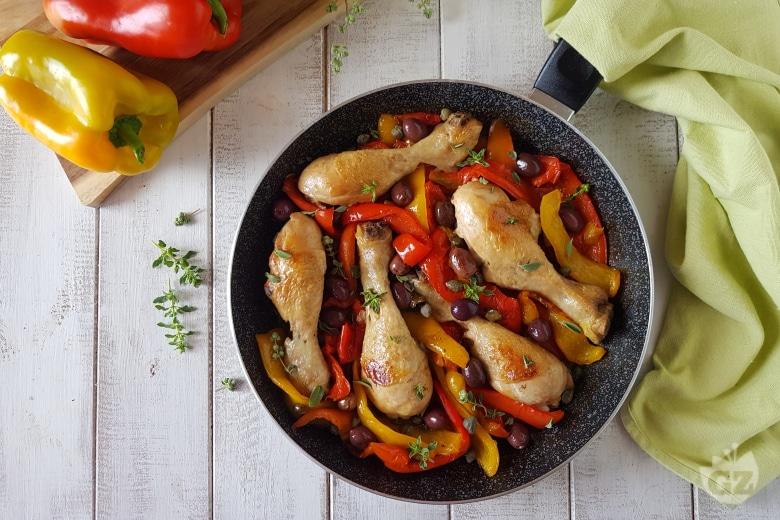Pollo con olive e peperoni