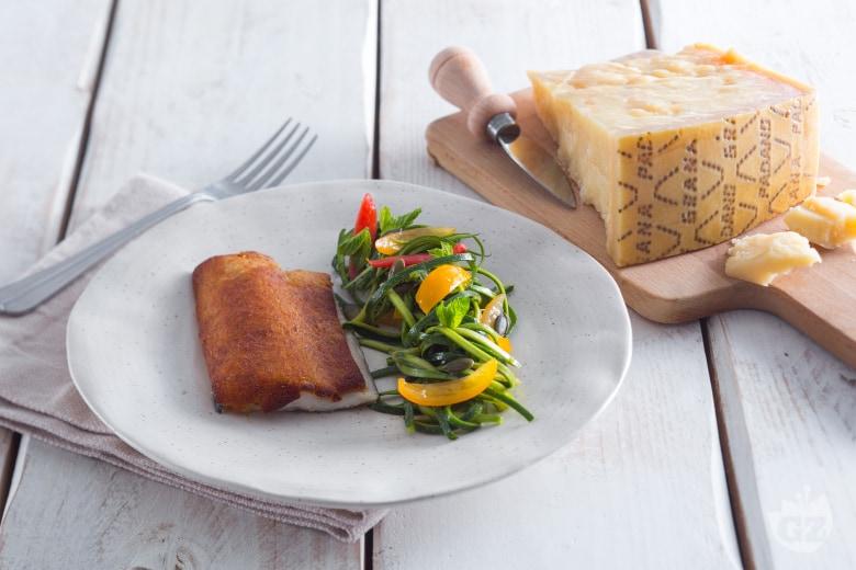 Trota in crosta di Grana Padano e zucchine marinate