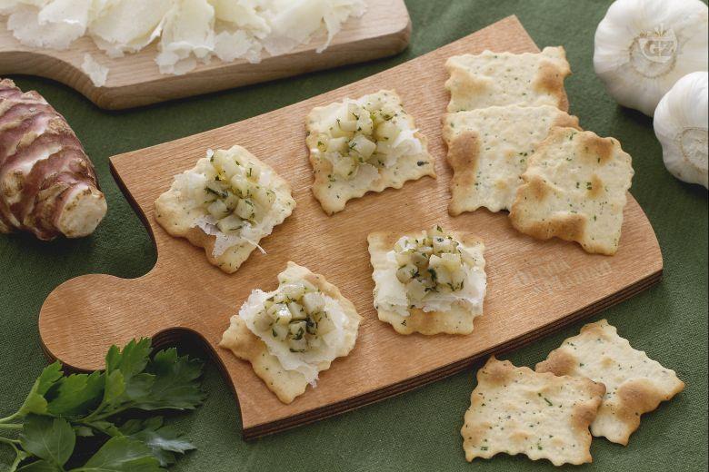 Sfoglie alle olive con topinambur e raspadura