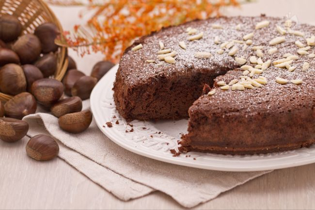 Torta di castagne e cioccolato