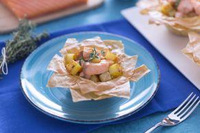 Cestini di phillo al salmone e crema di zucchine