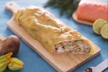Strudel al salmone, porcini e fiori di zucca