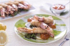 Ricetta Gamberi in pasta kataifi con salsa alla confettura di albicocca