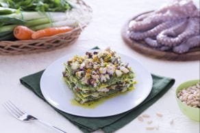 Ricetta Lasagne al verde con pesto di rucola e ragù di polpo
