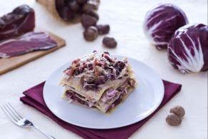 Ricetta Lasagne con radicchio, crema di castagne e speck