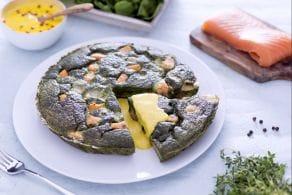 Ricetta Frittata al verde con salmone, toma e salsa allo zafferano