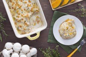 Lasagne di zucca con crema di funghi e scamorza