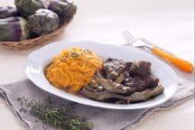 Stracotto ai carciofi con purea di patate dolci