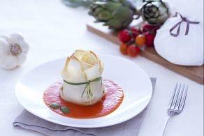 Ricetta Fagottini con burrata, carciofi e sugo di pomodoro