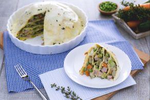 Ricetta Zuccotto di lasagne con verdure, fontina e prosciutto