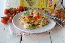 Lasagne con pomodori confit e mozzarella