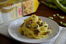 Tagliatelle fave e pancetta
