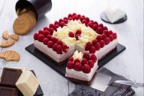 Cheesecake cioccolato bianco e lamponi
