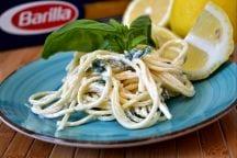 Spaghetti con crema al limone