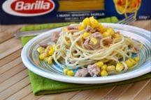 Spaghetti con tonno e mais