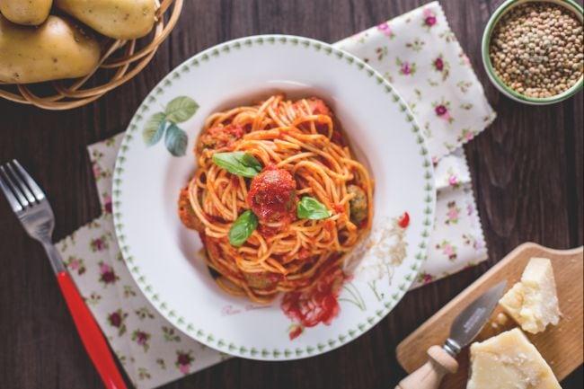 Spaghetti con le polpettine vegetariane