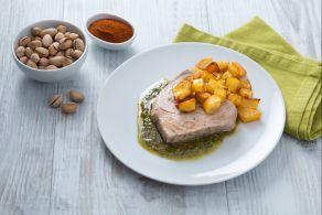 Ricetta Filetto di tonno al pesto di pistacchi