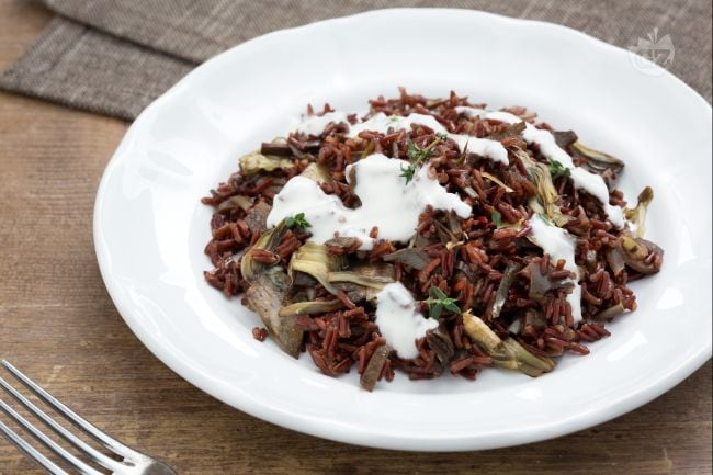 ricetta riso rosso selvatico con cuori di carciofo e