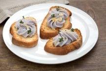 Merluzzo mantecato con yogurt e patate viola