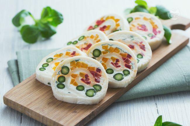 Girelle di pane con verdure e caprino