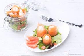 Bocconcini di salmone con insalata al pompelmo
