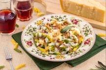 Maccheroncini al pettine con culatello e crema al parmigiano