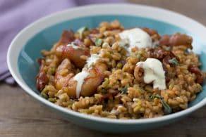 Ricetta Chicchi di farina di legumi con gamberi e speck