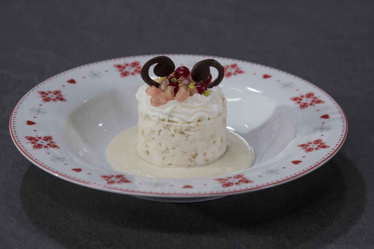 Torronata con fonduta light di cioccolato bianco