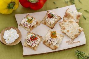 Ricetta Sfoglie alle olive con ricotta e peperoni grigliati