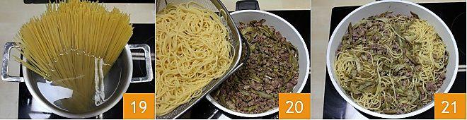 Spaghetti con ragù bianco ai carciofi