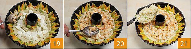 Anello di riso con cuore di mozzarella e gamberetti