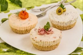 Tris di cheesecake salate