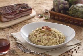Risotto alla crema di carciofi e pancetta croccante