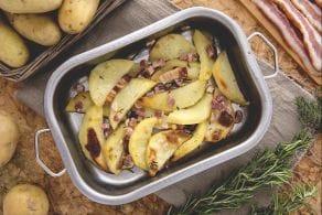 Ricetta Spicchi di patate al forno con pancetta
