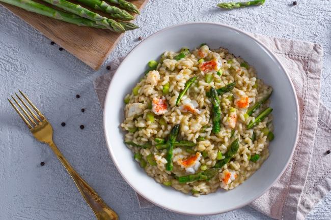 Risotto agli asparagi e scampi