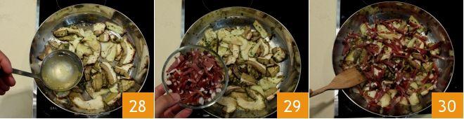 Tagliatelle di frittatine verdi con funghi e pancetta - passione italiana 9