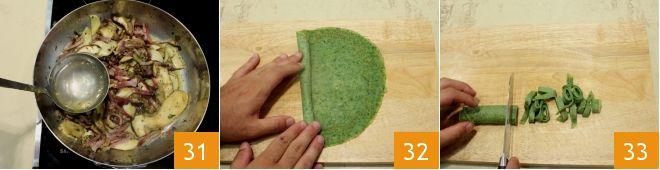 Tagliatelle di frittatine verdi con funghi e pancetta - passione italiana 10