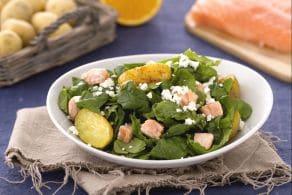 Ricetta Insalata di spinaci con patate salmone e feta