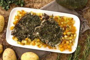 Ricetta Braciole alle erbe con zucca e patate