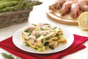 Lasagne al salmone, mazzancolle e asparagi