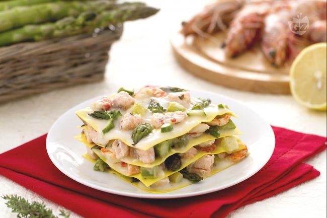 Ricetta lasagne al salmone mazzancolle e asparagi la for Barilla ricette