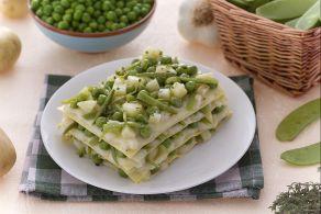 Lasagne con fagiolini patate e piselli