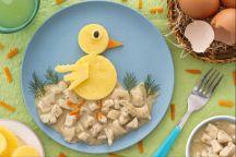 Pulcino di polenta con spezzatino