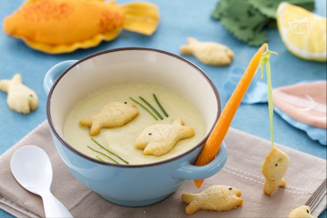Zuppa di pesce con canna da pesca