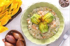 Ricetta Risotto con gamberi zucchine e fiori di zucca
