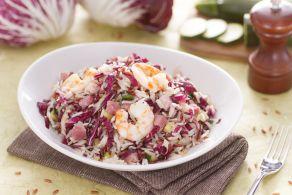 Ricetta Insalata di riso basmati e rosso e cubetti di pancetta dolce