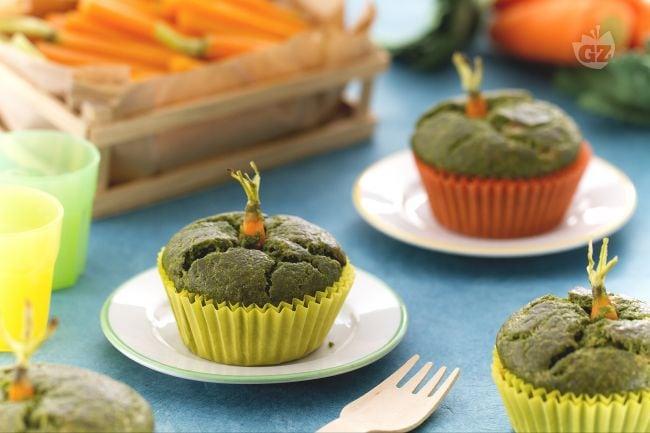 Muffin di spinaci con carotina
